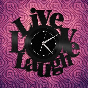 Inspirational Quotes, Inspirational Wall Art, Live Love Laugh Sign, Decoration Sign Clock, Vinyl Record Clock, Inspirational Kitchen decor