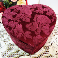 Valentine Box Heart Brocade Fabric covered Lid Storage Keepsake Vintage blm