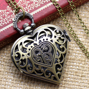 Bronze Hollow Quartz Heart-shaped Pocket Watch Necklace Pendant Chain Womens Watches Gift