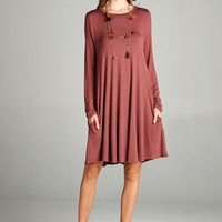 Loose Fit Round Neck Long Sleeve Dress