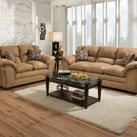 Light Brown Plush Couch Set | Venture Latte Sofa and Loveseat | American Freight