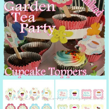 Cupcake Toppers- PERSONALIZED-Garden Tea Party -Printable File- DIY -16 toppers: Digital File-