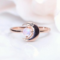 14kt Rose Gold Vermeil Moonstone Ring - Luna Noblesse