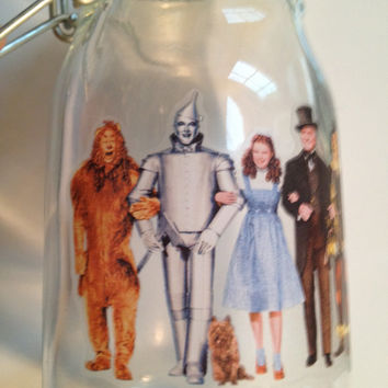 The Wizard of Oz Gift Jar Trinket Jar Tinman Scarecrow Cowardly Lion Dorothy Toto Party Centerpiece for Candy trinkets buttons notions