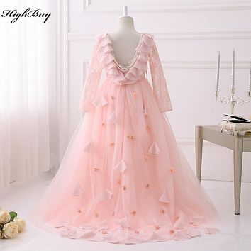 2017 New Desigin Party Formal Pink Flower Girl Dress baby Pageant Gowns Birthday Communion Toddler Kids TuTu  Dress for Weddings