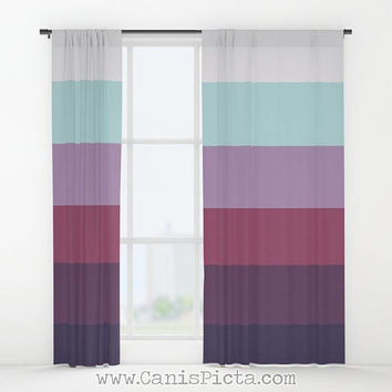 Preppy Ombre WINDOW CURTAINS Decorative House Home Art Decor Gift Drapes Treatment Purple Taupe Amethyst Cream Beige Khaki Lilac Navy Blue