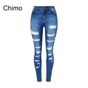 2017 Jeans Woman Ladies Cotton Denim Pants Ripped Boyfriend Jeans For Women Skinny High Waist Denim Jeans For Female Trousers