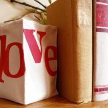 Hand Stamped Love Bookend in Red by JoshuaByOak on Etsy