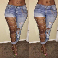 Fashion Women  Jeans Sexy Destroyed Ripped Distressed Chain Denim Pants Jeans Trousers