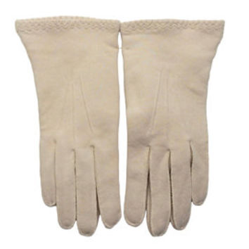 1950's Gloves | NOS | Empire Made | Ecru Natural Cotton | 50's Gloves | Thick Cotton Duplex Vintage Gloves | Size 7 1/2