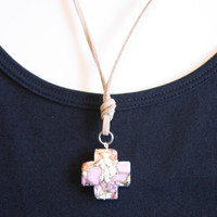 Necklace/ Purple Cross Charm / Tan Suede Cord/ Handmade Necklace/ Summer Jewelry/ Beach Accessory/ Fashion Jewelry