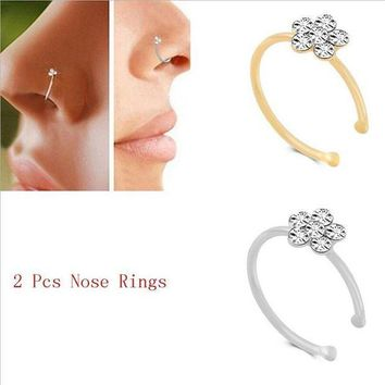 ac PEAPO2Q Stainless Steel Silver Gold flower Nose Open Hoop Ring Earring Body Piercing Crystal Nose Studs Women Studs 925 Fashion Jewelry