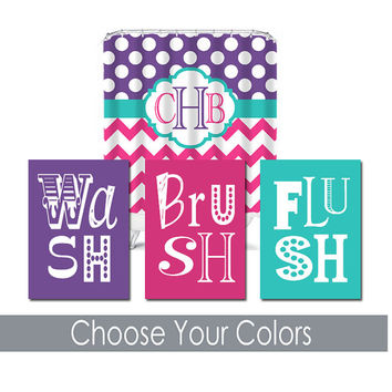 Bathroom Wall Art Canvas Artwork Purple Hot Pink Turquoise Wash Brush Set of 3 Prints Decor Kid Monogram Shower Curtain Match Three