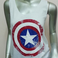 Captain America Super Hero American Hero Tank top t shirt Women & Men Unisex tank tops summer cute teen girl hot sleeveless White Size XL