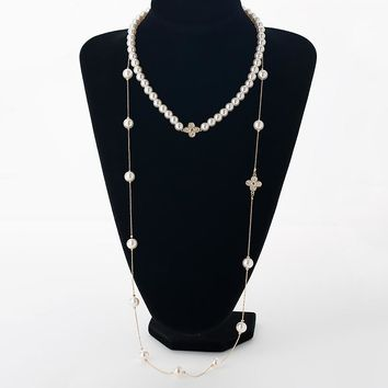 Double simulated pearl women necklace rhinestones four leaf clovers gold color long chain female necklace wedding party jewelry