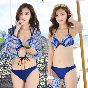 Swimwear Large Size xl 3 Pieces Cover up Beach Dress+Bikini Set  Summer Push Up Padded Swimsuit Bathing Suits For Women