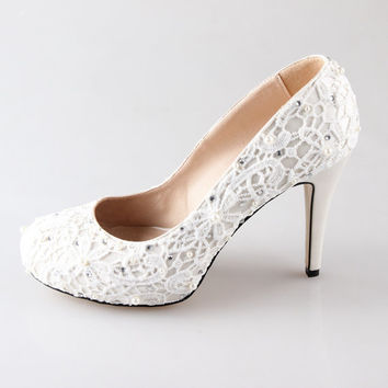 New Ivory lace pearl wedding shoes party shoes prom shoes closed toe pumps high heels
