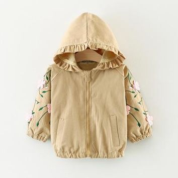 Fall models Korean girl hooded trench coat cotton children's coat