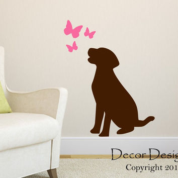 Labrador Retriever Wall Decal - by Decor Designs Decals, Labrador Retriever Decal- Dog Decal- Lab Decal-Lab Sticker- Butterfly Wall Decals - Butterflies Decal - Decal