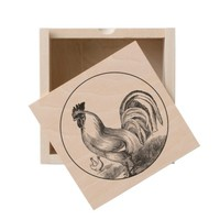 Vintage fire rooster illustration wooden keepsake box