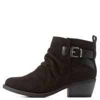 Black Slouchy Belted Ankle Booties by Charlotte Russe