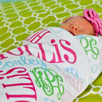 Personalized Baby Blanket Monogrammed Full Size Swaddle Stroller Blanket