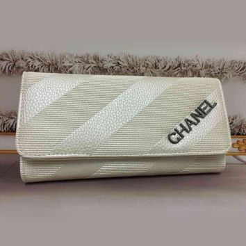 CHANEL Women Fashion Clutch Bag Leather Wallet Purse
