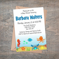 Under the Sea - Baby Shower Invitation, Personalized Printable Invite, Cute Party Supplies, Celebration Announcement Card, Baby Boy, Blue
