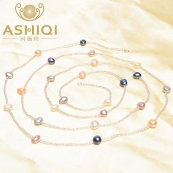ASHIQI Multi Color Baroque Pearl Necklace 7-8 mm Natural Freshwater Pearl Long Necklace 925 sterling silver clasp Beach Style