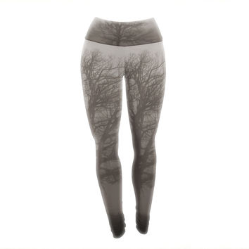 "Angie Turner ""Lonely Tree"" Dark Fog Yoga Leggings"
