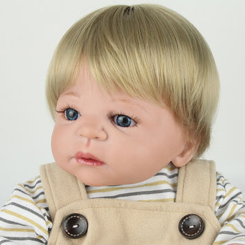 "22"" full body silicone reborn dolls boy girl doll reborn babies blond hair magnetic mouth bath dolls children gift bonecas"