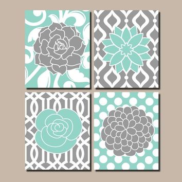Flower Pattern Art, Flower Bedroom Wall Art, Aqua Gray Flowers, Flower Nursery Art,Bathroom Decor, Kitchen Pictures,Canvas or Print Set of 4