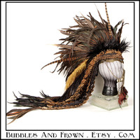 Flight By Night.... Feather Mohawk in Earthy Colors with Metal Gypsy Veil