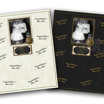 50th Wedding Anniversary Signature Mat - Gold Anniversary Party 50th Anniversary Ideas - 50th Anniversary Gift - 50th Anniversary Guest Book