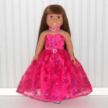 18 inch Doll Clothes Fuchsia Satin Special Occasion Gown with Glitter Skirt and Choker American Doll Clothes
