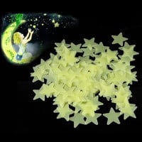 New Hot 100pcs 3D Stars Glow In The Dark Luminous Fluorescent Plastic Wall Stickers Living Home Decor For Kids Rooms ZH145