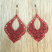Ivy Element Earrings In Red