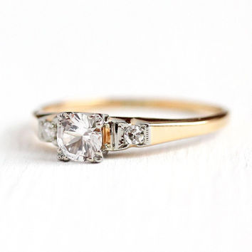 White Sapphire Ring - 14k 18k Yellow & White Gold Engagement - Vintage Size 9 1/2 Alternative Colorless Genuine Gemstone and Diamond Jewelry