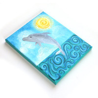 Dolphin Painting, 8x10 inch acrylic art, whimsical art for home or office, beach art