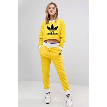 ADIDAS Clover 2018 autumn and winter new trend women's casual sports fitness two-piece Yellow