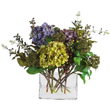 Silk Flowers -Mixed Hydrangea With Rectangle Vase Flower Arrangement