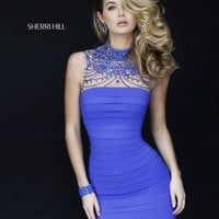 Sherri Hill 32263 Short Halter Beaded Bandage Homecoming Dress