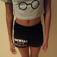 Hogwarts School of Witchcraft and Wizardry gym shorts, Work Out Shorts, Hogwarts Runners Shorts, Harry Potter Inspired Fitness Shorts