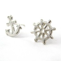 Small Anchor and Wheel Nautical Stud Earrings in Silver