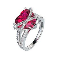 Ruby & White Sapphire Heart Ring