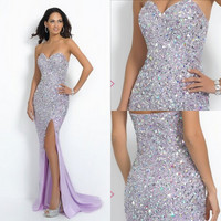 Split Side Backless Full Bodice Body  Beaded Crystal Evening Dresses Prom Dress Formal Dress