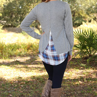 Put Some Plaid In It Top: Gray/Plaid