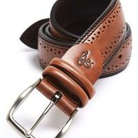 Men's Canali 'Vitello' Brogue Leather Belt