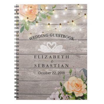 Rustic Wood Floral String Lights Wedding Guestbook Spiral Notebook