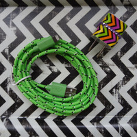 New Super Cute Jeweled Multi Colored Zig Zag Design Wall iphone 5,5s Charger + 10ft Lime Green Braided Cable Cord